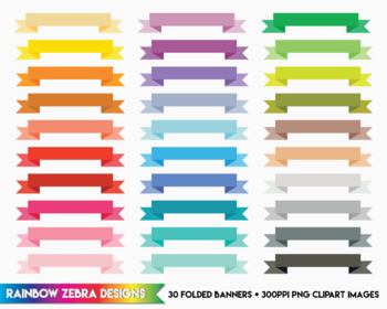 30 Folded Banners - Clipart / Digital Download 300ppi png files