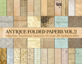 30 Folded Crumpled Antique Vintage Old Digital Papers 8.5x