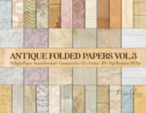 30 Folded Crumpled Antique Vintage Old Papers 8.5x11 Vol.3