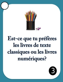 30 French Speaking Prompts - L'École et le Cours - School Vocabulary