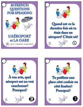 30 French Speaking Prompts - L'aéroport et la gare - Airport and train stations