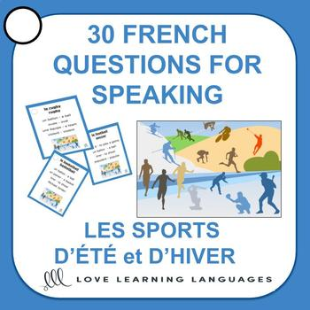 30 French Speaking Prompts -Les sports d'hiver et d'été-French Sports Vocabulary