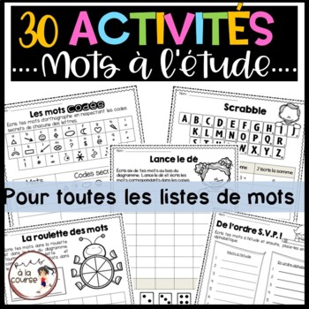 30 FRENCH Word Work Printables For Any List  - 30 activité