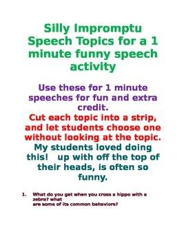 30 Funny Impromptu Speech Topics to Build Confidence and Fluency Common Core