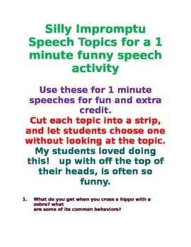 30 Funny Impromptu Speech Topics to Build Confidence and Fluency Common Core