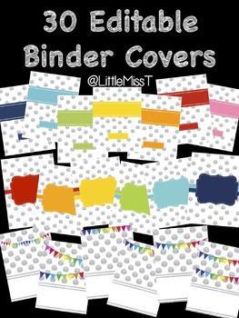 30 Glitter Polka Dot Editable Binder Covers