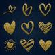 31 Gold Glitter Hand Drawn Heart Clip Arts Wedding Valentine