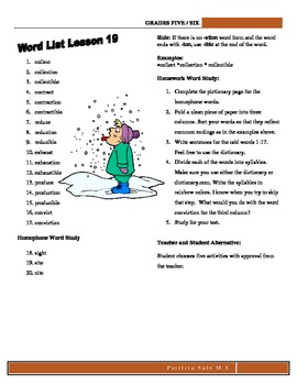 30 Grades 5 or 6 Spelling Lists to Learn With Patterns