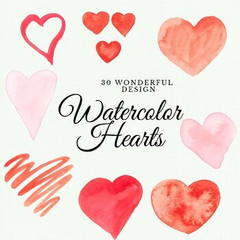 30 Handpainted Watercolor Hearts, Watercolor love hearts, Red handpainted hearts
