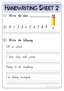 30 Handwriting practice worksheets (New Zealand cursive font)