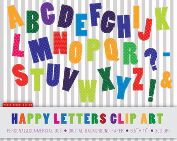 30 Happy Letters Alphabet Clipart