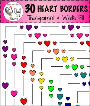 30 Heart Page Borders {Clip-Art, Many Colors, Transparent & White Backgrounds}