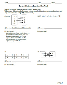 30) Inverse Relations Notes Page