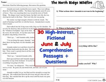 30 JUNE & JULY Reading Comprehension Passages: Summer Reading Comprehension