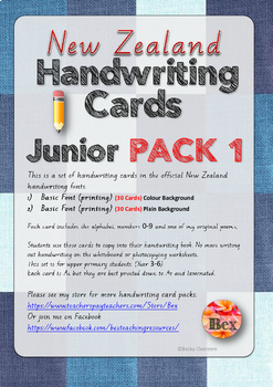 Junior Handwriting Cards Pack 1 (New Zealand Basic Font) 30 Cards