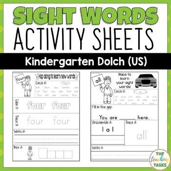 52 Kindergarten Sight Word Practice (Dolch) Printables