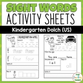 Kindergarten Sight Word Activity Worksheets Dolch