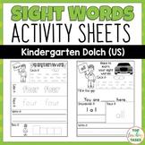 Kindergarten Sight Word Activity Worksheets Dolch