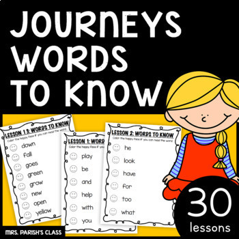 1st GRADE  JOURNEYS WORDS TO KNOW HOMEWORK/PRACTICE