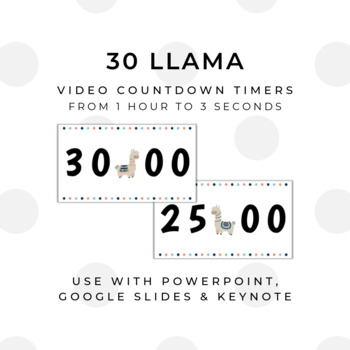30 LLAMA Video Countdown Timers - For PowerPoint, Google Slides, Keynote