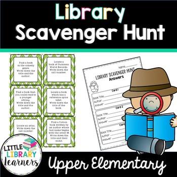 Library Scavenger Hunt Task Cards- Upper Elementary