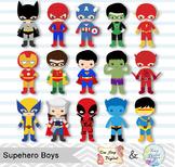 30 Little Boy Superheros Digital Clip Art, Boys Superhero Clipart 0265