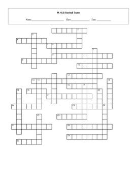 30 MLB Baseball Teams Crossword with Key