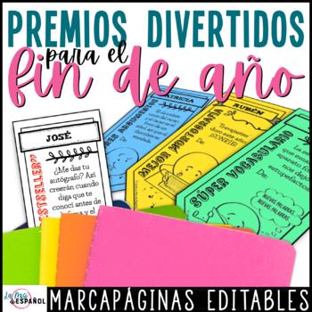 Marcadores para Fin de Año | Spanish Editable End of the Year Awards Bookmarks