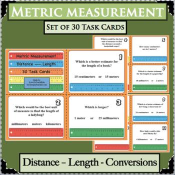 30 Metric Measurement Units Length Distance Task Cards Benchmark Comparisons