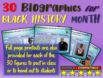 30 Mini-Bios for Black History Month (text, video links, p