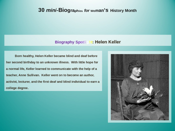 30 Mini-Bios for Women's History Month (text, video links, printables, and more)