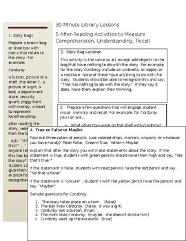 30 Minute Library Lessons: 5 After-Reading Activities