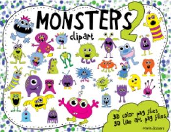 30 Monster Mega Clip Art Pack - 2
