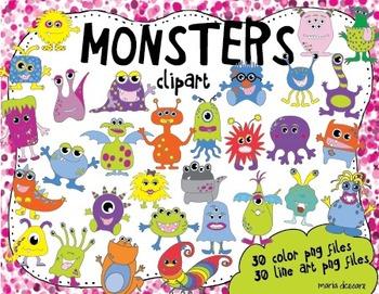 30 Monster Mega Clipart Pack