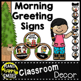 30+ Morning Greeting Choices or Saying Good-Bye Signs Camping Theme