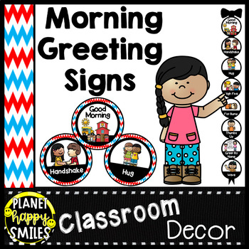 30+ Morning Greeting Choices or Saying Good-Bye Signs Red, White, and Blue