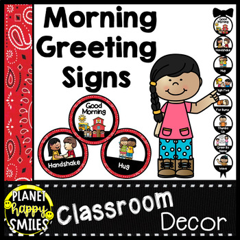 30+ Morning Greeting Choices or Saying Good-Bye Signs Western Theme