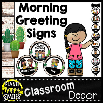 30+ Morning Greeting or Saying Good-Bye Signs Distressed Wood and Cactus Theme