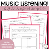 Music Listening and Writing Prompt Worksheets