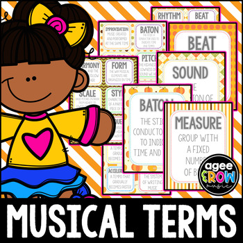 30 Music Flashcards + 30 Wall Cards - Autumn Theme - Tempo