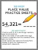 30 No-Prep Place Value Worksheets - Value of the Digit - S