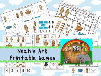 30 Noah's Ark themed Printable Games and Activities. Christian preschool curricu