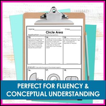 Circle Area Worksheets