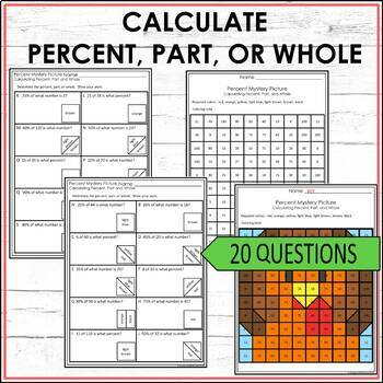 Thanksgiving Math Activity Mystery Picture - Percent Part Whole