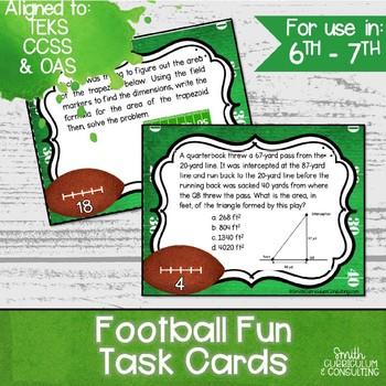Football Fun Task Cards   TEKS 6.4H, 6.8C, 6.8D, 7.4E