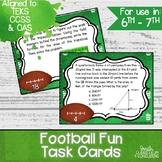 Football Fun Task Cards | TEKS 6.4H, 6.8C, 6.8D, 7.4E