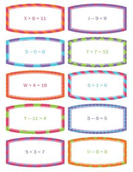30 One-Step Adding and Subtracting Algebraic Equation Task Cards
