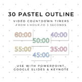 30 PASTEL OUTLINE Video Countdown Timers - For PowerPoint,
