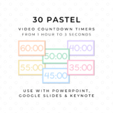 30 PASTEL Video Countdown Timers - For PowerPoint, Google