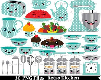 30 PNG Files- Blue Retro Kawaii Kitchen- Digital Clip Art 94